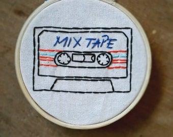 Mix Tape Cassette Hoop ornament