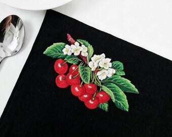 4-Cherries Linen Placemats, Black Linen Placemats, Fabric Placemat, Red Cherries on Black Linen, Hand Embroidered Placemats, Black Placemats