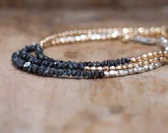 Diamond Bracelet, Minimalist Rough Diamonds Silver Bracelet, Raw Black Diamond Delicate Silver Bracelet, April Birthstone, Gift for Her
