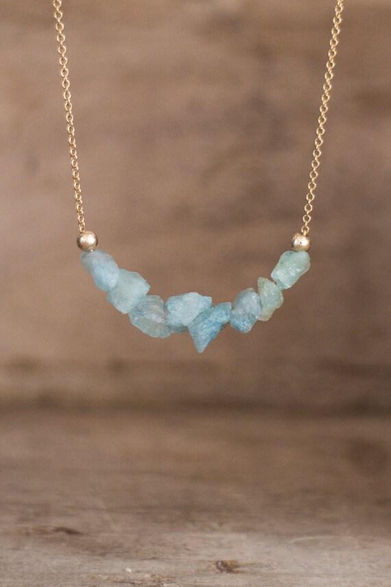Raw Aquamarine Necklace On Silver Or Gold Raw By Abizajewelry