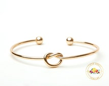 Gold Bridesmaid Gift Bracelet, Gold Tie The Knot Bangle, Love Knot Bracelet, Bridesmaid Proposal