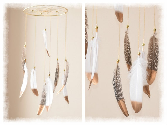 Baby Mobile Dream catcher Mobile Boho Feather by BlueDreamcatcher