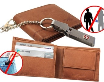 Leather Men Wallet Men's with Removable Chain from Victorinox © Strong . Prevents Pickpocketing!