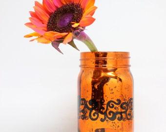 swirly metallic mason jar, hand painted, orange