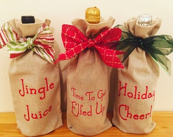 Holiday Wine Tote, Wine Gift Bag, Christmas Wine, Bottle Tote, Hostess Gift {Jingle Juice, Time To Get Elfed Up, Holiday Cheer!}