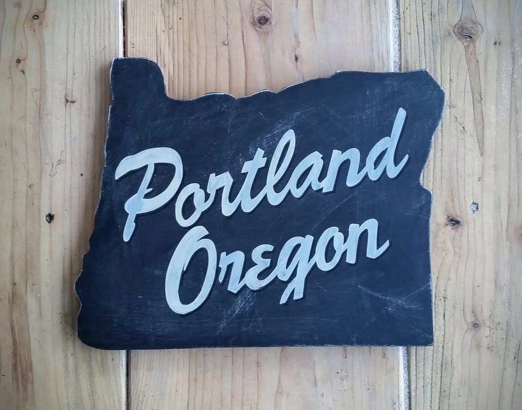 Portland oregon wood state sign rustic recycled hand by for Reclaimed wood portland or