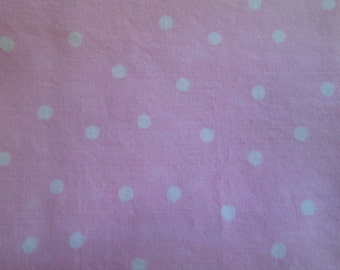 Custom Fitted Pack N Play Portable Crib Sheet OR Changing Pad Cover Pale Pink Tiny White Polka Dots