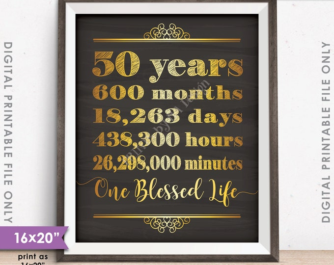 """50th Anniversary Gift, 50 Years of Marriage Milestones, 50 Yrs Blessed Life, Chalkboard Style PRINTABLE 8x10/16x20"""" Instant Download Sign"""