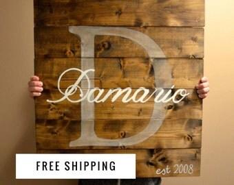 Monogram Rustic Sign - Monogram Everything - Monogram Sign - Wedding Gift - Home Decor - Christmas Gift