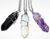 Crystal Necklace Wire Wrapped Opalite Onyx Amethyst Point Pendant Real Stone Bullet Healing Hexagon