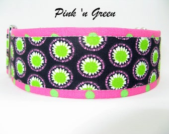Unique Martingale Collar, Lime Green Pink Blue Martingale Collar, 1 Inch 1.5 Inch 2 Inch Martingale, Greyhound Collar, Unique Dog Collar