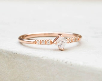 Feminine, Dainty prong Princess Cut eternity Stacking Ring with thin band - ROSE GOLD- fashion ring, promise ring, wedding engagement ring