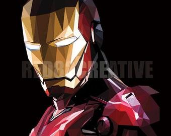 "8"" x 10"" Iron Man Triangulation Vector Graphic Print"