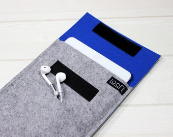 Gray iPad mini case, felt mini 4 case, iPad mini sleeve, 6 inch tablet sleeve, 8 inch iPad case, royal blue iPad mini, felt kindle sleeve