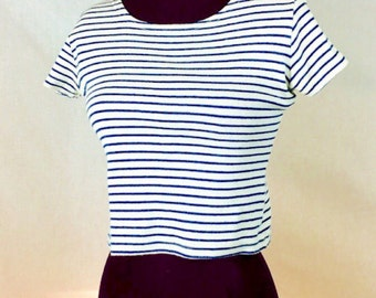 90s Vtg XS S Crop Top Babydoll Shirt NAVY + WHITE Stripe Cap sleeve