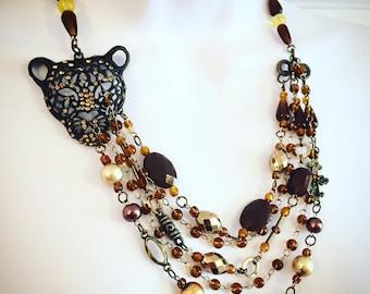 Stunning Leopard Statement Necklace // multi strand bib necklace // rustic necklace