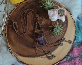 Gypsy Traveler Amethyst Necklace w/ Tan Hemp Yarn
