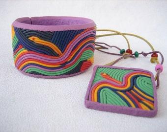 Tribal purple bracelet pendant set polymer clay jewelry multicolor Boho jewelry spring gift Bangle bracelet Memory wire folk jewelry