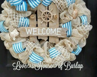 Nautical Wreath, Beach Wreath, Seashell wreath, Nautical Decor, Beach Decor, Welcome Wreath, Summer wreath
