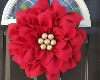 Poinsettia wreath, Christmas wreath, Christmas Flower wreath, Holiday wreath, Christmas decoration, Christmas decor, Burlap wreath