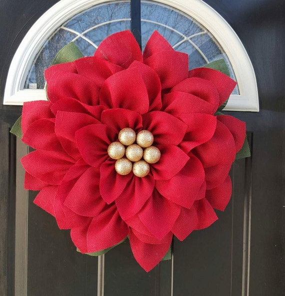 How do you make a christmas decoration - Poinsettia Wreath Burlap Flower Wreath By Loveshouseofburlap