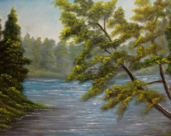 Lake Hickory North Carolina Plein Air Original 11x14 Acrylic Painting By Sunscapes