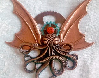Octopunx Copper Color Steampunk Brooch Cthulu Bat-wing Flying Octopus Creature