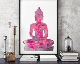 Digital Poster Buddha fuschia watercolour Silver effect 24×36 Buddha Wall Art Yoga Print Watercolor Buddha Print Yoga Poster zen yoga studio