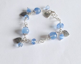 Blue Serenity bracelet with chalcedony and charms