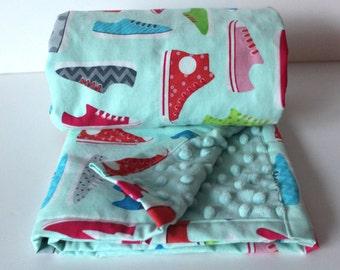 Minky Baby Blanket-Girl Baby Blanket- Sneakers Blanket- Shoe Blanket- Ann Kelle This and That- Hipster Baby Blanket- Nerdy Baby Blanket-Cool