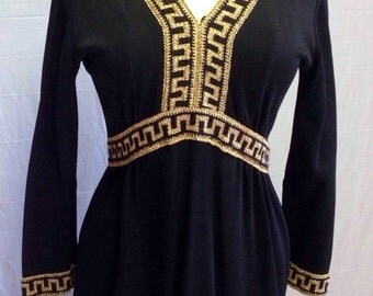 1960s Black and Gold Dress