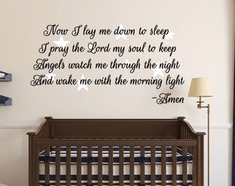 Now I lay me down to sleep, Pray, Lord, Angels, Watch, Prayer, Stars, Vinyl, Wall, Decal, Girl, Boy, Child, Baby, Nursery, Room, Home, Decor