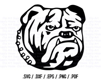 Bulldog Clipart, Veterinary Office Wall Art, Animal SVG File, Silhouette Studio, Cricut Design, Brother Scan Cut, Scal, Cut Machines - CA120