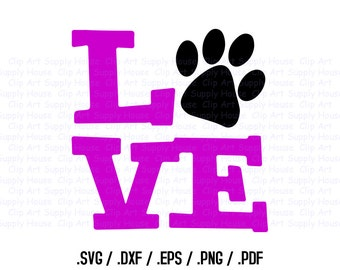 Animal Pet Love SVG Clipart, SVG Office Wall Art, Pet SVG File, Silhouette Studio, Cricut Design, Brother Scan Cut, Die Cut Machines - CA243