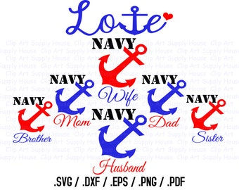 Military SVG File, Navy SVG Art, Support Our Troops Design Files, Silhouette Software, dxf files, svg file, EPS File, Cricut Design - CA281
