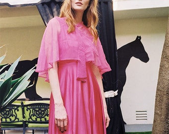 70's vintage pink long dress with a shawl