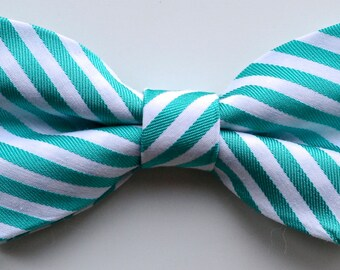 Turquoise Green and White Striped Bow Tie