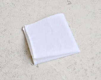 Classic Solid White Pocket Square