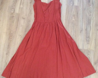 Vintage 80s does 50s Terracota Summer Dress Small