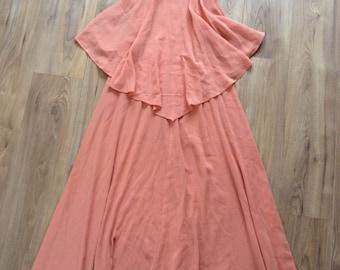 Vintage 70s stunning peach Mr Darren maxi dress, XS