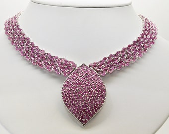 Sterling Silver and Rubies 18 inches Necklace 103.2 grams 21 cttw
