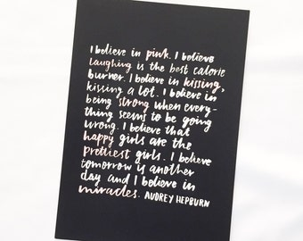 I Believe Print, A4 Print, Audrey Hepburn Print, Handlettered Print