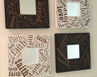 Peace, Love, Happiness, Faith Mirror Frames Set
