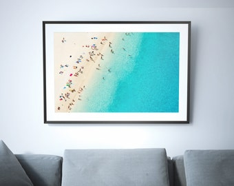 Large Beach Poster Print // Aerial Photography // Turquoise Print // Large Beach Prints // Beach People