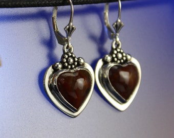 Agate Heart Earrings Sterling Silver Handcrafted
