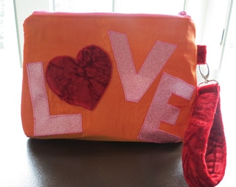 Love Heart Wristlet, Clutch bag, Simple Purse, Handbag