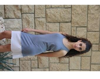 Ladies up-cycled Grey an Cream Mini Dress