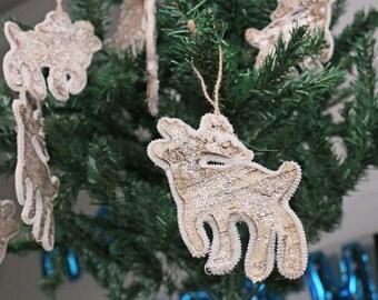 10pcs Birch Bark Reindeer Christmas Ornament Sparkle Winter Woodland Rustic Wedding Craft Cutouts Scrapbooking