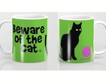 Beware of the cat mug-Black Cat mug-Green mug-Kids mug-Cool mug-Cat lover mug-Gift for him-Coffee lover gift-Gift for her-Colourful mug