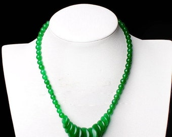 """SALE Beautiful Genuine Imperial Green Jade Gemstone Necklace - Adjustable 17"""" AAA - Natural Stone Necklace - Agate - Sterling Silver"""